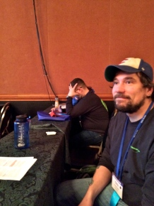 Mike and Chris listening during general session presentations