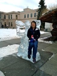 Mara enjoying the Anchorage ice sculptures