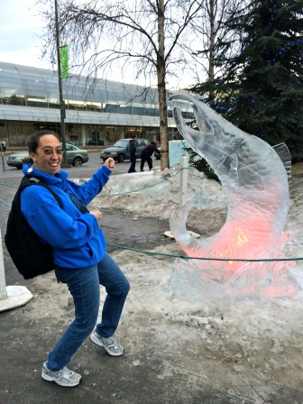 Sunshine reels in an ice salmon