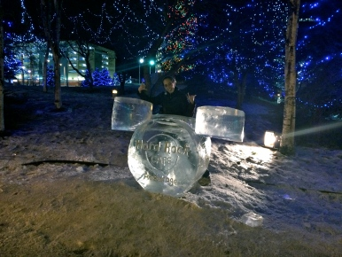 Sunshine enjoying the ice sculptures in Anchorage