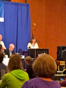 Semra speaking in front of the state delegates
